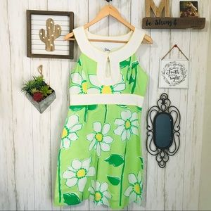 Lilly Pulitzer Vintage Green Flower Dress Sz 6